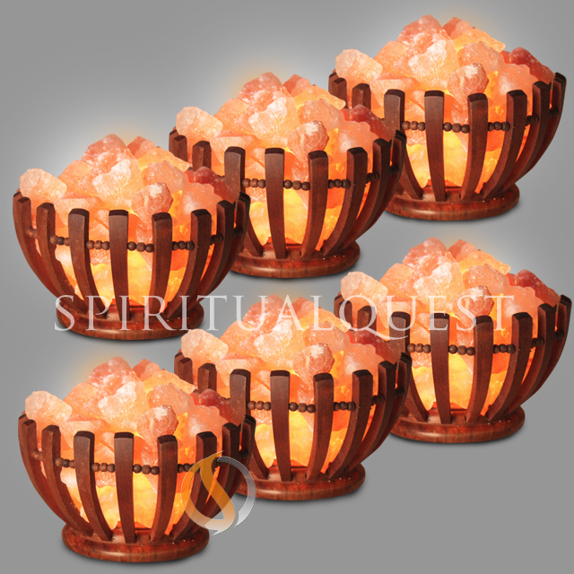 Abundance Wooden Bowl Salt Lamp - Finely Crafted -