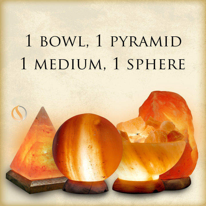 1 Bowl, 1 Sphere, 1 Medium Salt Lamp, 1 Pyramid