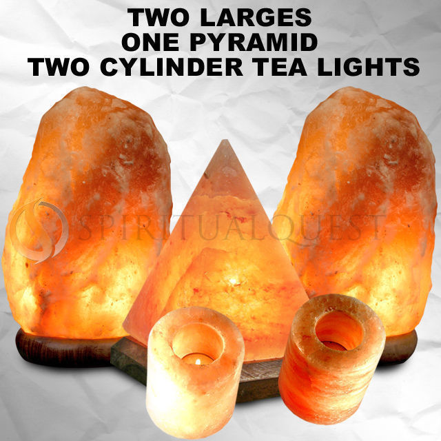 2 Large Salt Lamps, 1 Pyramid, 2 Tea Lights 99.99 !