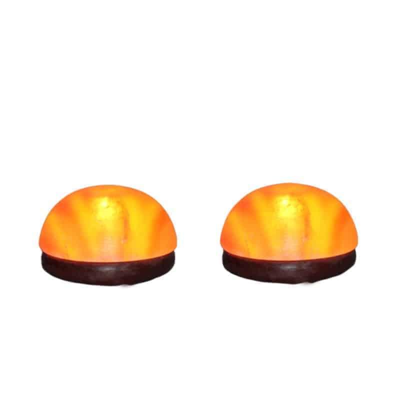 pair of Himalayan salt dome foot detox lamps