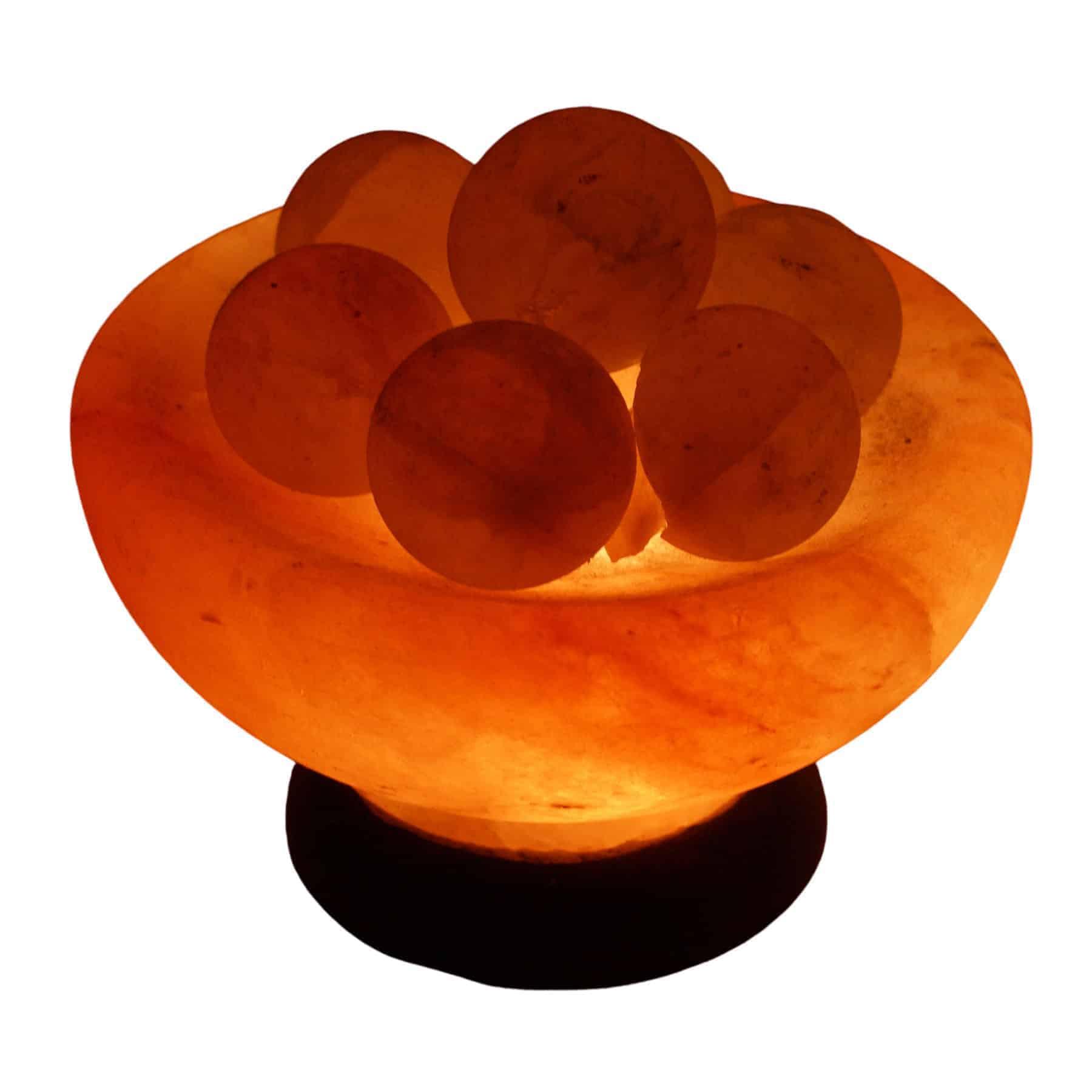 Abundance Bowl Salt Lamp with Healing Massage Balls