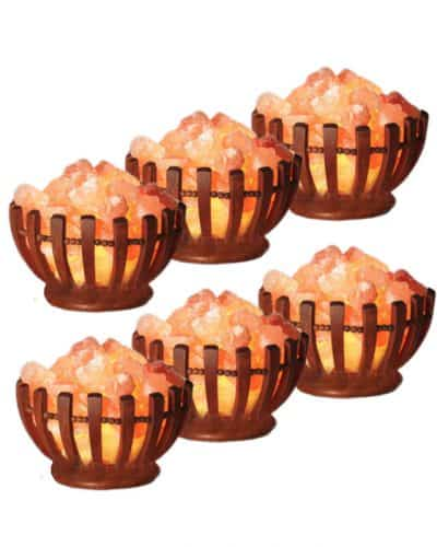 6 pack of wooden bowl salt lamps