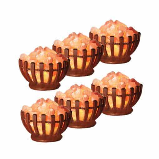 6 pack of wooden bowl salt lamps