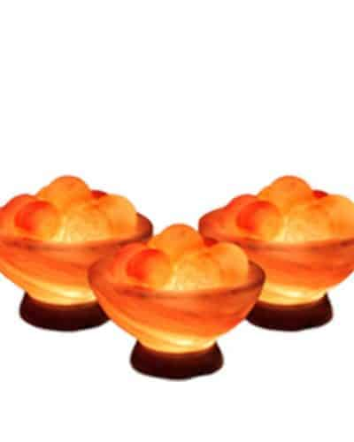 3 pack of himalayan salt bowls with healing balls