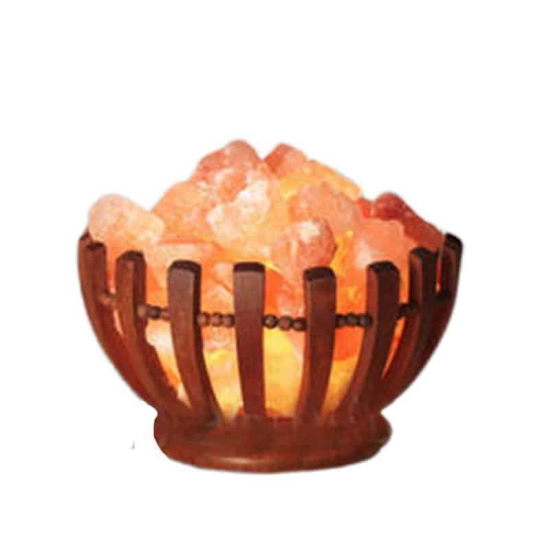 Wooden Basket Himalayan salt lamp