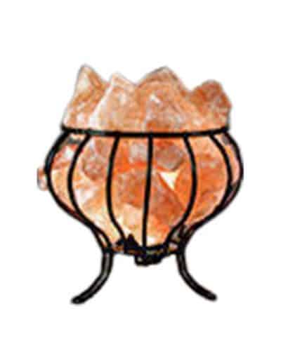 Metal basket himalayan salt lamp by Spiritualquest Himalayan experts