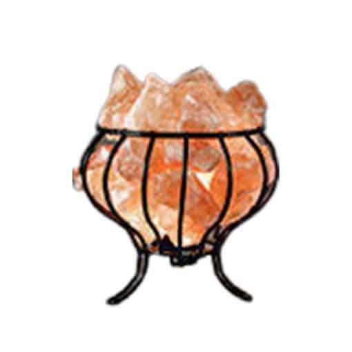 Metal basket himalayan salt lamp by Spiritualquest Himalayan experts
