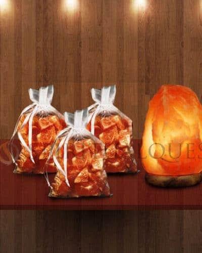 3 Bags of Bath Salts and 1 Medium Salt Lamp