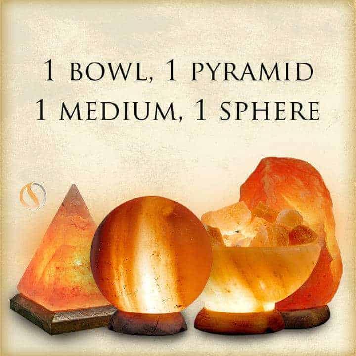 1 Bowl, 1 Sphere, 1 Medium Salt Lamp, 1 Pyramid