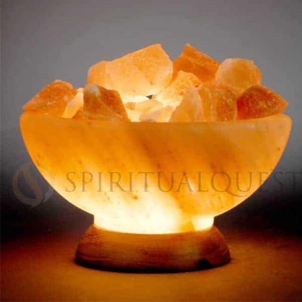 Abundance Bowl Lamp with Himalayan Salt Chunks