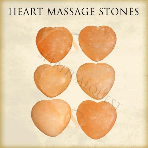 Heart Shaped Himalayan Salt Massage Stones  (6 Pieces)