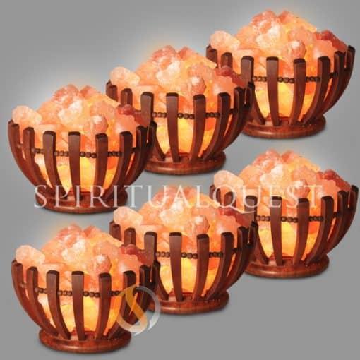 Abundance Wooden Bowl Salt Lamp - Finely Crafted -