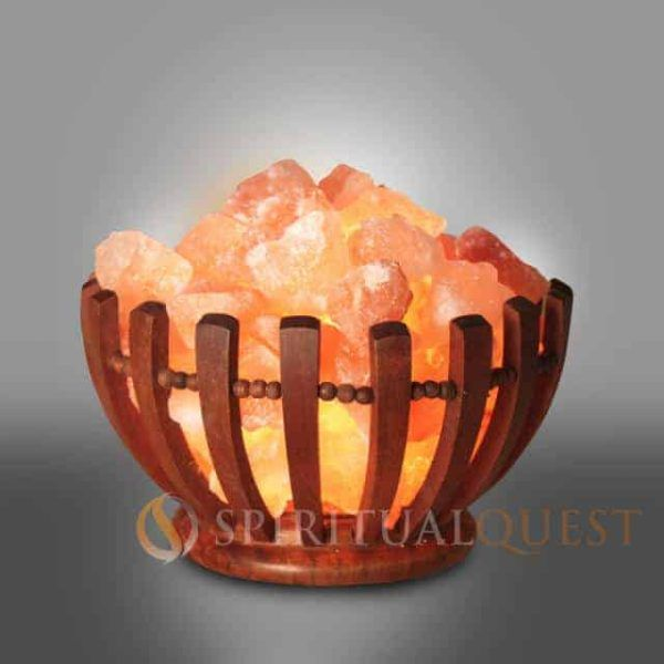 Wooden Abundance Bowl Himalayan Salt Lamp