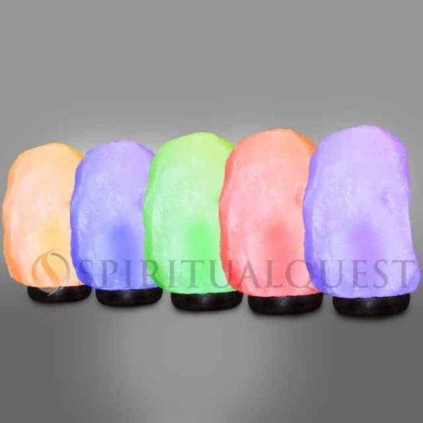 White MEDIUM Salt Lamp with 5 colored bulbs