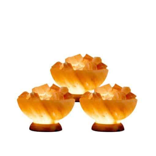 3 abundance bowls made from Himalayan salt