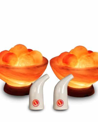 2 salt lamp bowls with massage balls and 2 salt pipe inhalers