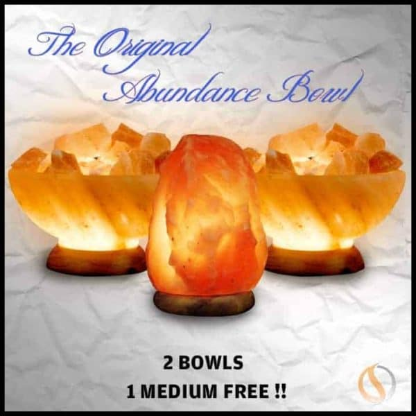 Two Abundance Bowls, One Medium Salt Lamp 3 Piece Value/Gift Pack