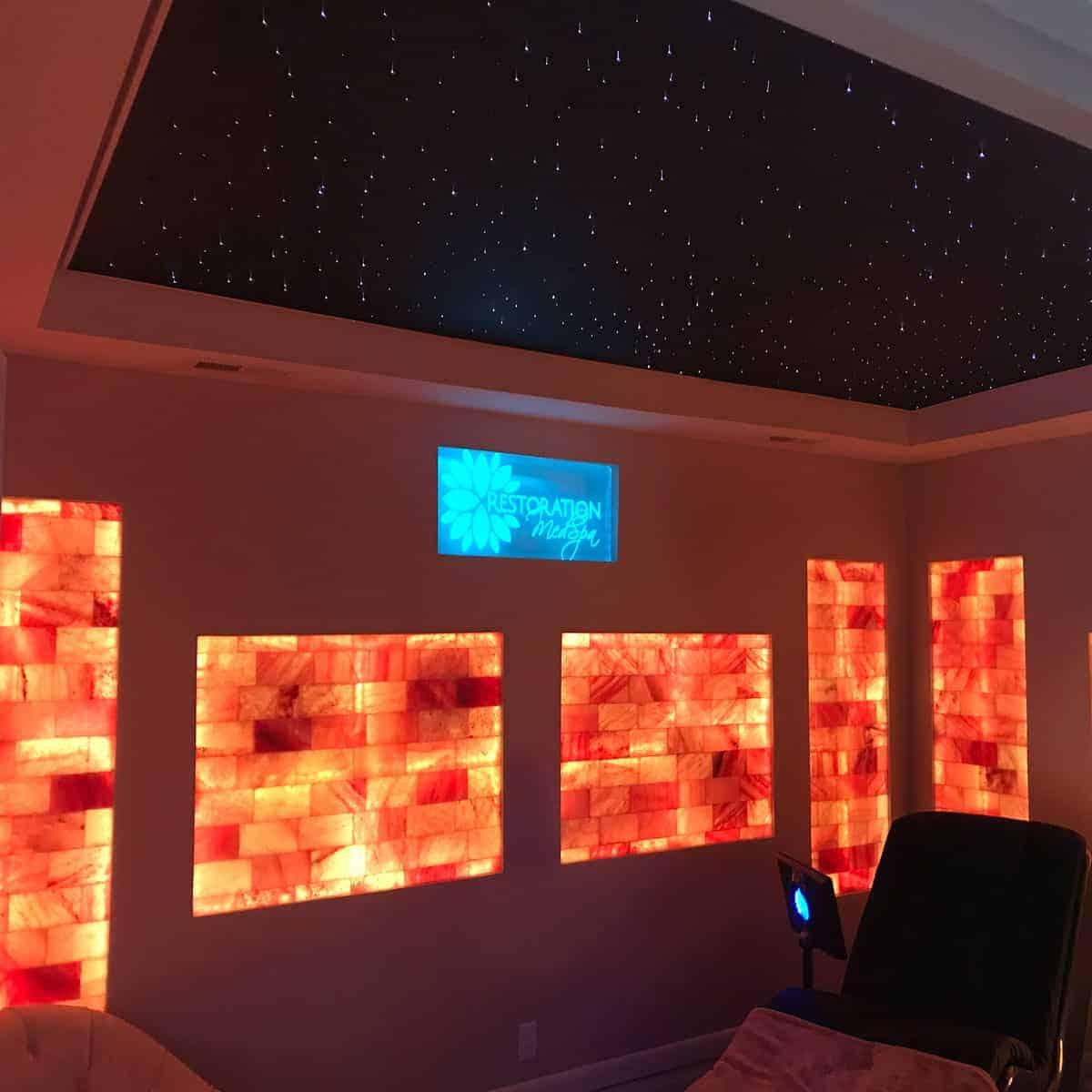 custom salt wall with LED backlight