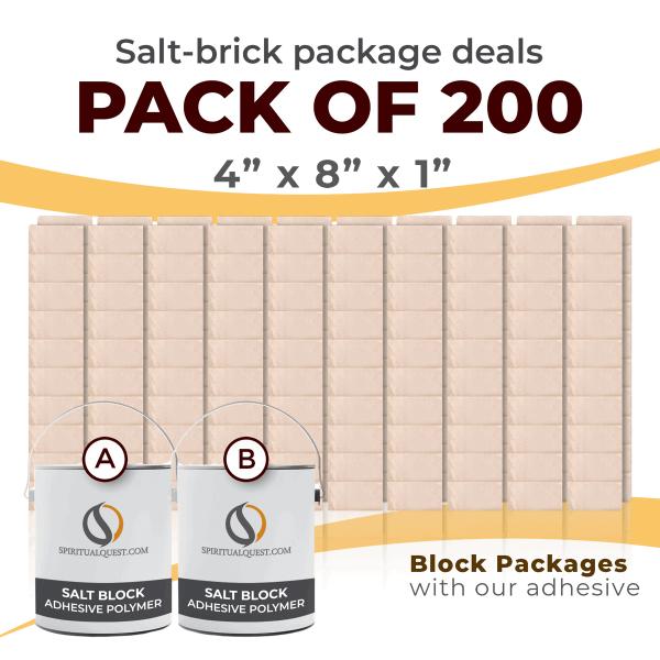 "4"" x 8"" x 1"" White Salt Bricks with Adhesive Qty 200"