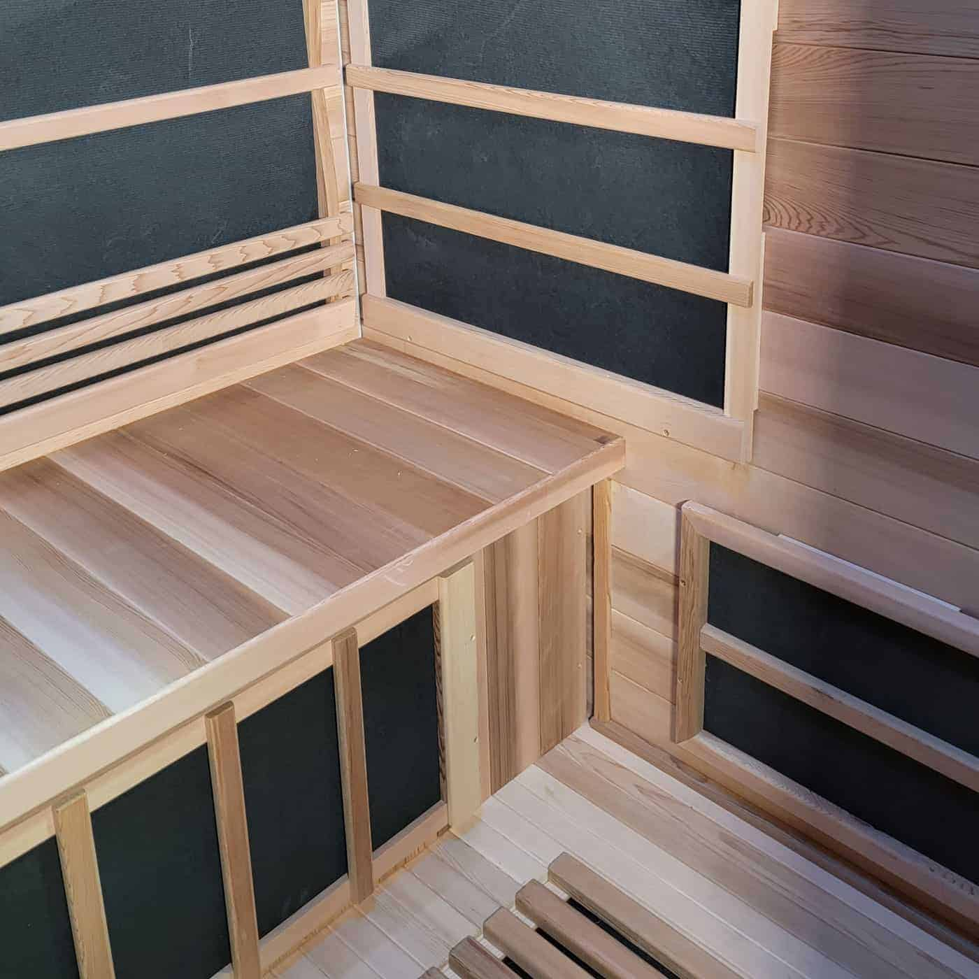 Outdoor Infrared Sauna Interior View with Chromatherapy Lights Off