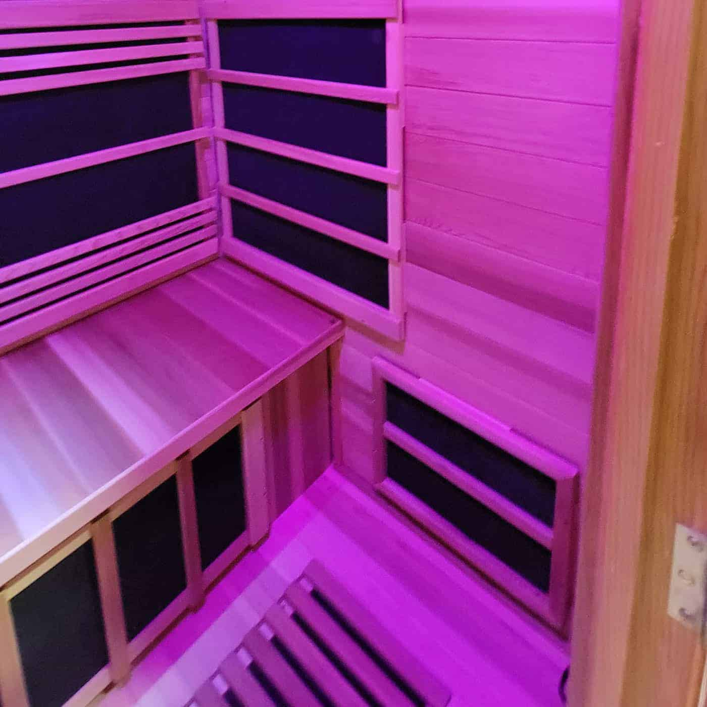 Outdoor Infrared Sauna Interior View with Chromatherapy